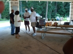 Lamar Reed and other family members getting an early start for the picnic.