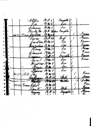 1880 Census of Claiborne Parish, LA listing Phillip Beene and his son, Jackson.  A line is drawn through his name which